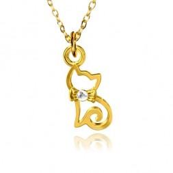 Srebrny naszyjnik Kotek z cyrkonią  pozłacany 24K złotem