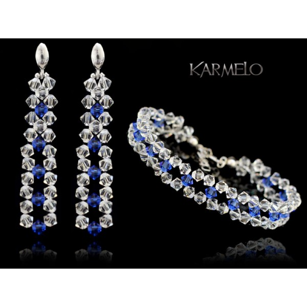 Biżuteria ślubna kryształki Swarovski ® KP552 szafir