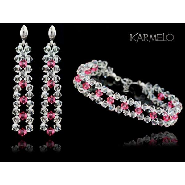 Biżuteria ślubna kryształki Swarovski ® KP552 różowy