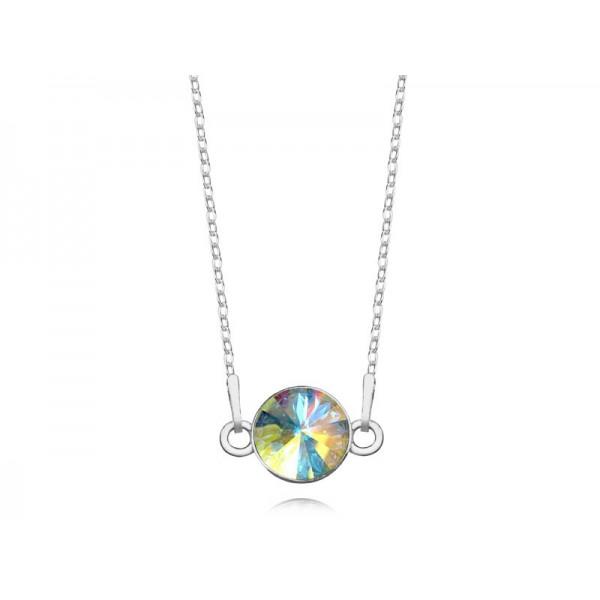 Srebrny naszyjnik celebrytka z kryształem Swarovskiego® AB- opalizujący
