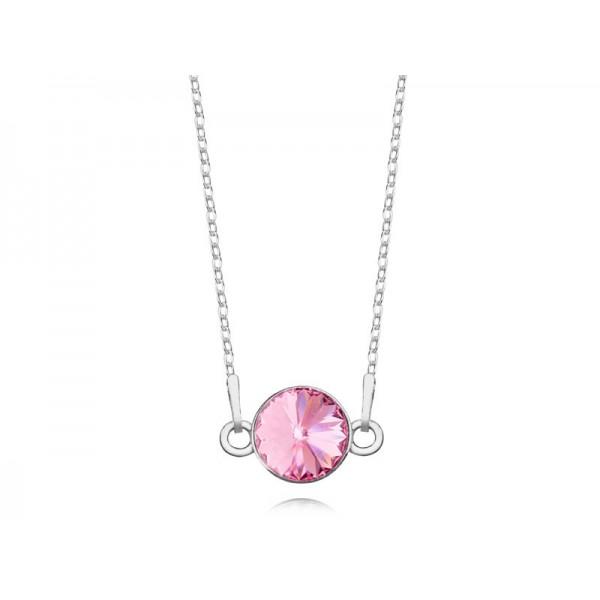 Srebrny naszyjnik celebrytka z kryształem Swarovskiego® light rose- różowy