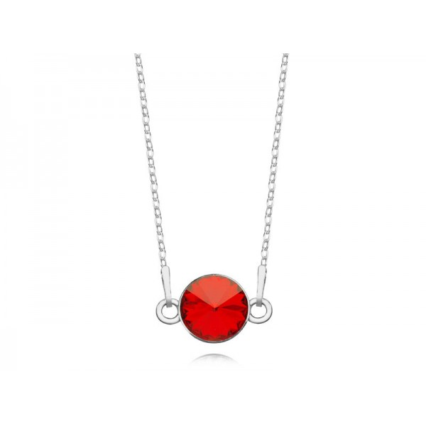 Srebrny naszyjnik celebrytka z kryształem Swarovskiego® light siam- czerwony