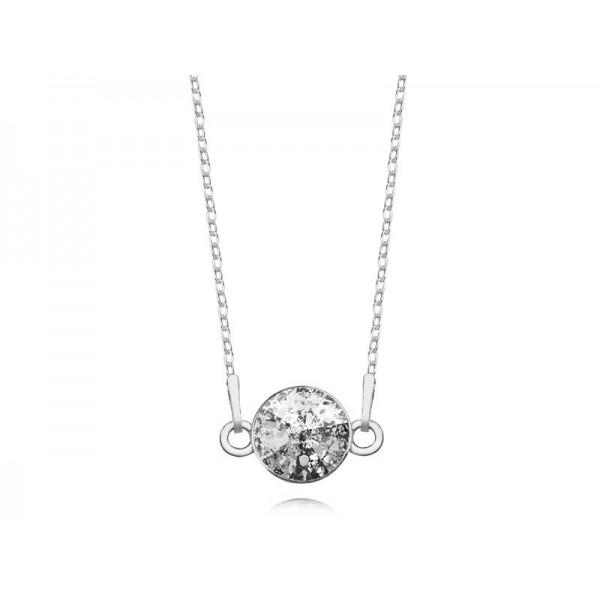 Srebrny naszyjnik celebrytka z kryształem Swarovskiego® black patina- grafit