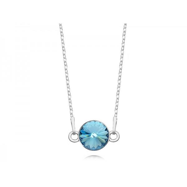 Srebrny naszyjnik celebrytka z kryształem Swarovskiego® aquamarine