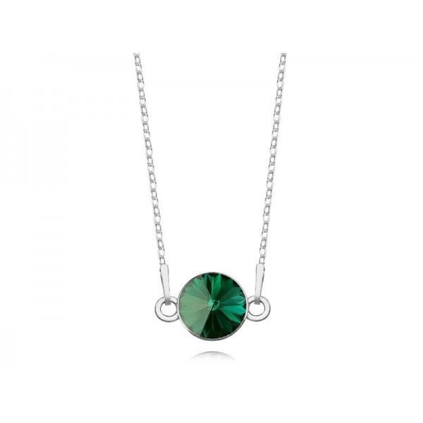 Srebrny naszyjnik celebrytka z kryształem Swarovskiego® emerald- szmaragd