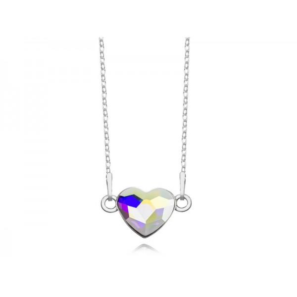 Srebrny naszyjnik SERCE celebrytka z kryształem Swarovskiego® AB- opalizujący