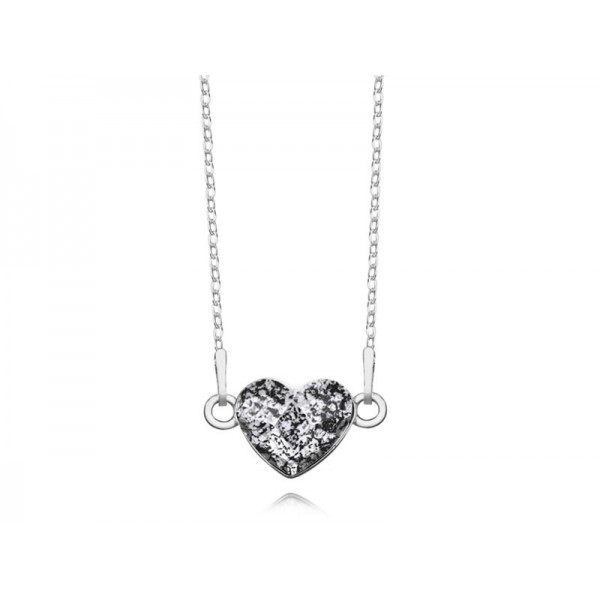 Srebrny naszyjnik SERCE celebrytka z kryształem Swarovskiego® black patina- grafit