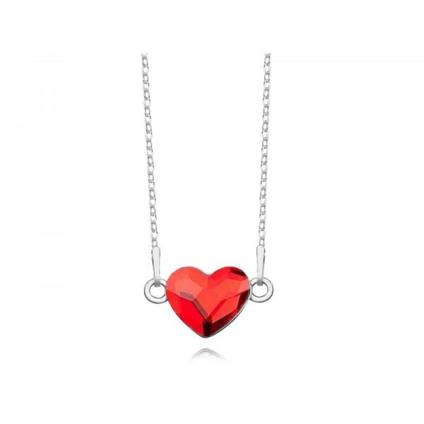 Srebrny naszyjnik SERCE celebrytka z kryształem Swarovskiego® light siam- czerwony