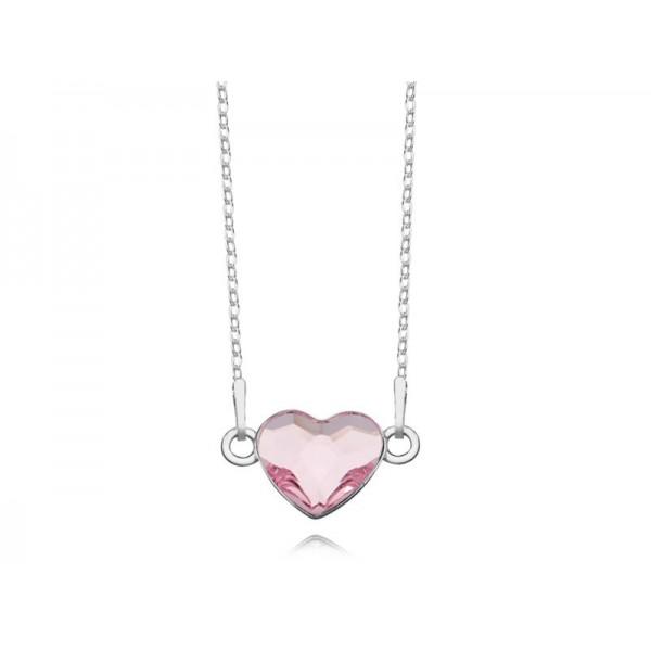 Srebrny naszyjnik SERCE celebrytka z kryształem Swarovskiego® light rose- różowy