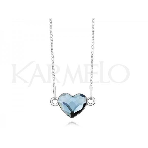 Srebrny naszyjnik SERCE celebrytka z kryształem Swarovskiego® denim blue