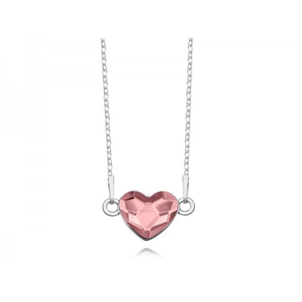 Srebrny naszyjnik SERCE celebrytka z kryształem Swarovskiego® antique pink
