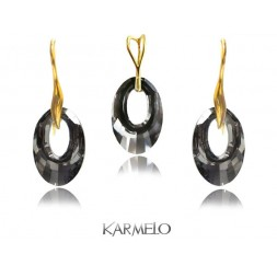 Komplet biżuterii Swarovski Elements Złocony grafit KP68