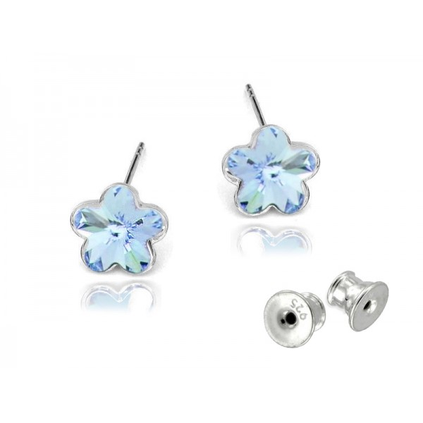 Kolczyki Kwiatuszki sztyfty KR90 aquamarine - niebieskie