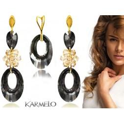 Komplet biżuterii Swarovski Elements pozłacany grafit, złoto KP71