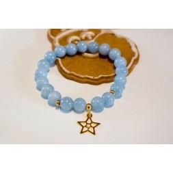 Bransoletka z błękitnych jadeitów z wisiorkiem Gwiazdką