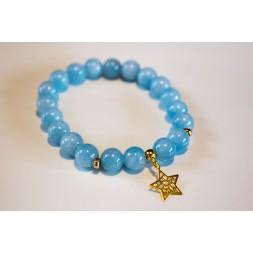 Bransoletka z błękitnych jadeitów z ażurową Gwiazdką