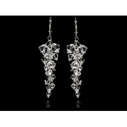 Biżuteria ślubna kolczyki grona 7 cm z kryształami Swarovski® KR110 crystal