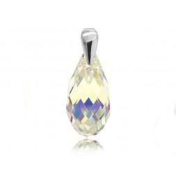 Wisiorek z kryształami Swarovski® łezka Crystal AB- opalizujący