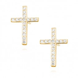 Srebrne kolczyki KRZYŻYKI z cyrkoniami POZŁACANE 24k złotem