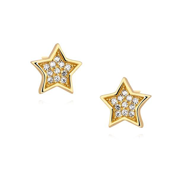Srebrne kolczyki Gwiazdki z cyrkoniami  pozłacane 24K złotem