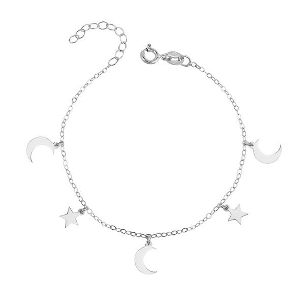 Srebrna bransoletka KSIĘŻYCE I GWIAZDKI srebro rodowane pr. 925