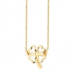 Naszyjnik z ażurową koniczynką srebro złocone 24K złotem