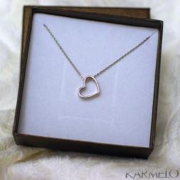 Srebrny naszyjnik serce srebro rodowane pr. 925
