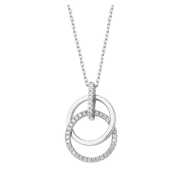Srebrny naszyjnik pr.925 okręgi z cyrkoniami