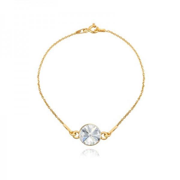 Bransoletka celebrytka pozłacana 24K złotem z kryształem Swarovski® crystal