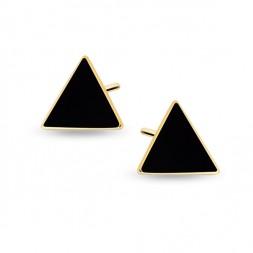 Srebrne pozłacane kolczyki pr.925 czarne emaliowane trójkąty